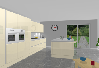 VR Kitchen True Handleless Doors