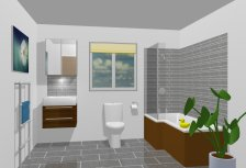 Bathroom with L-Shaped Bath